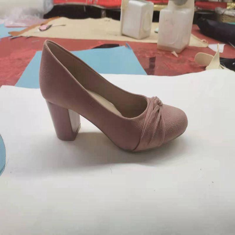 PU女士浅口单鞋高跟坡根平跟粗跟如图单鞋拖鞋耐穿防臭多色品质好女鞋优质淑女鞋44225-874#