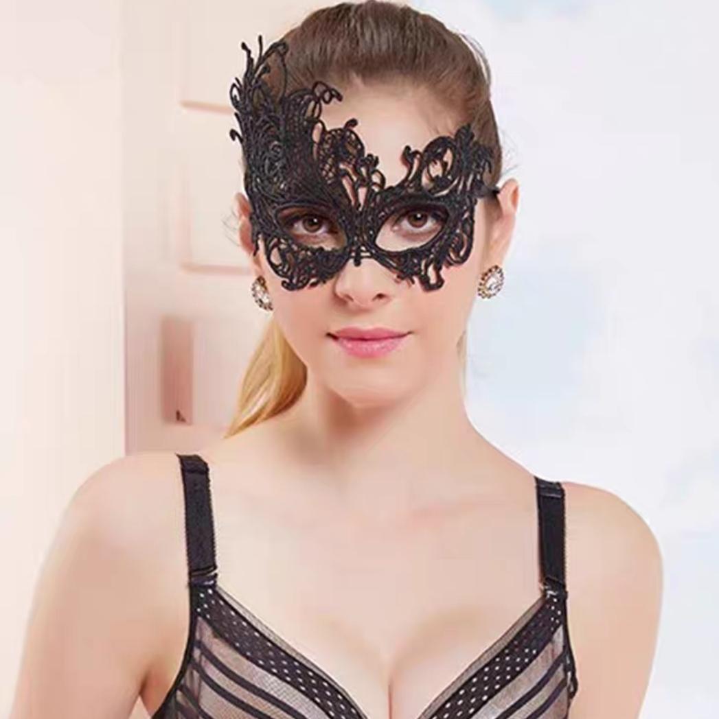 黑色蕾丝面具女定型镂空舞会派对性感成人半脸万圣节公主面具 MJ-006 凤凰