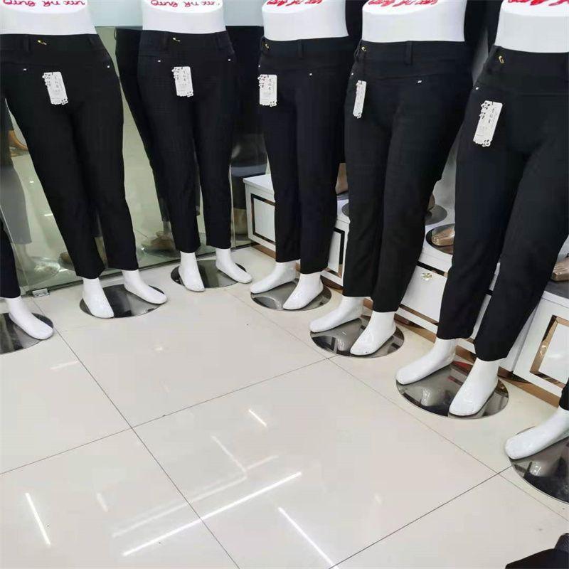 青钰鑫裤业NO81牛奶丝光泽裤外穿打底裤瑜伽薄款女修身小脚九分大码裤子