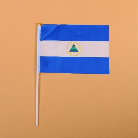 14*21尼加拉瓜8号手摇旗带杆子外国世界旗