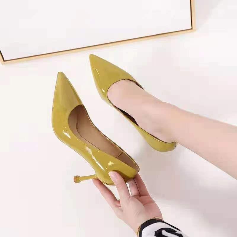 粗跟单鞋女2021年春秋新款复古法式气质软皮方头浅口中跟奶奶鞋夏35