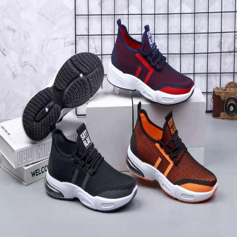 飞织休闲运动鞋减震时尚多色多款男鞋女鞋舒适透气系带防臭鞋44368-591#