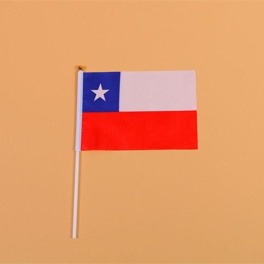 14*21智利8号手摇旗带杆子外国世界旗
