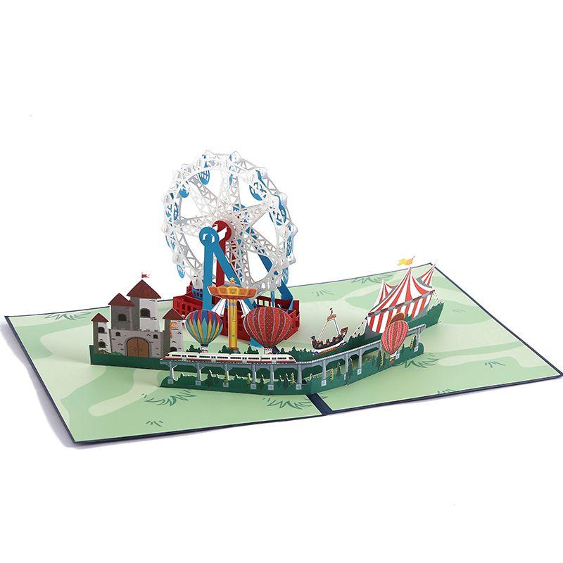 跨境3D立体贺卡批发 创意手工对折纸雕摩天轮朋友纪念祝福贺卡
