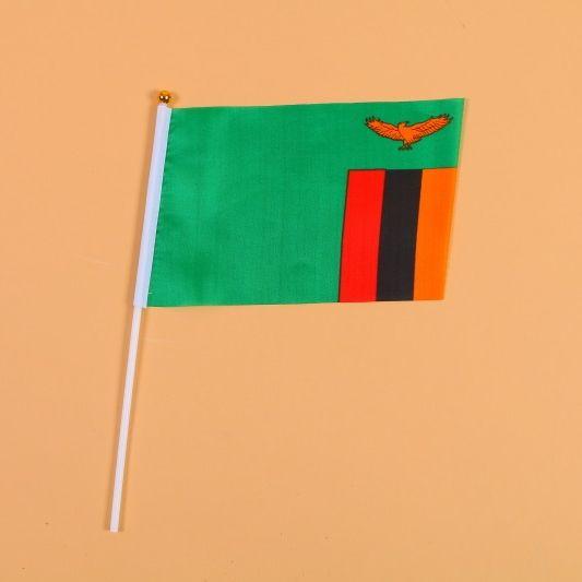14*21赞比亚8号手摇旗带杆子外国世界旗