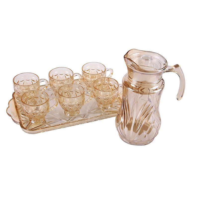 高档电镀金色玻璃茶壶套装一壶6杯一托盘BMPE-HL02-4T-HP