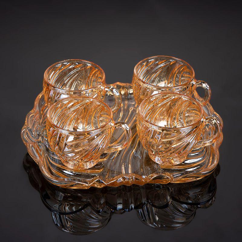 家用高档水晶玻璃茶杯套装电镀琥珀色BMPE-HL02-4T-HP