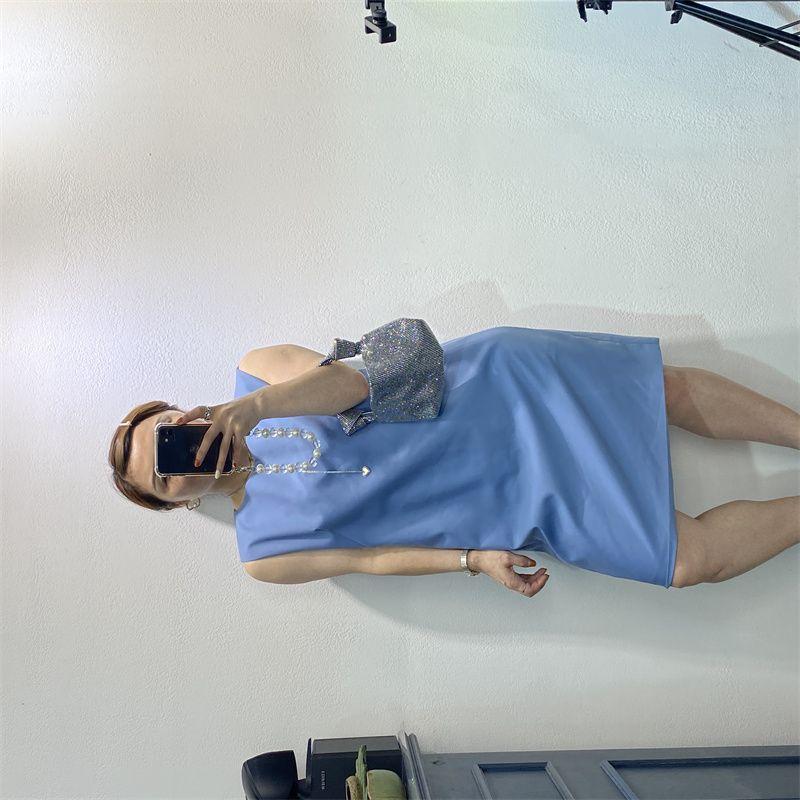 2021年夏季新款中长款宽松显瘦修身遮肚雪纺时尚休闲V领女式连衣裙10
