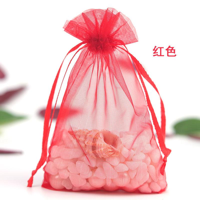 多色透明化妆品试用珍珠纱袋雪纱袋欧根纱礼品包装网纱袋子21