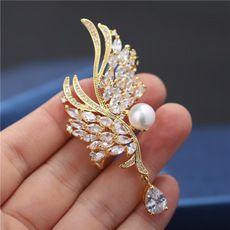 天使之翼胸针天然淡水珍珠胸花韩版时尚百搭秋冬别针扣