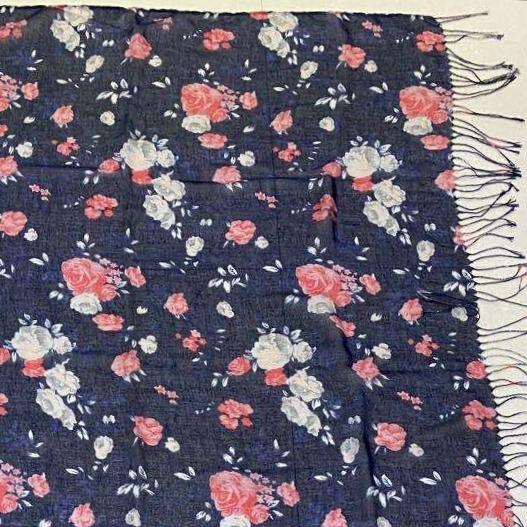 90x90cm小玫瑰印花加密巴黎纱搓绳方巾批发