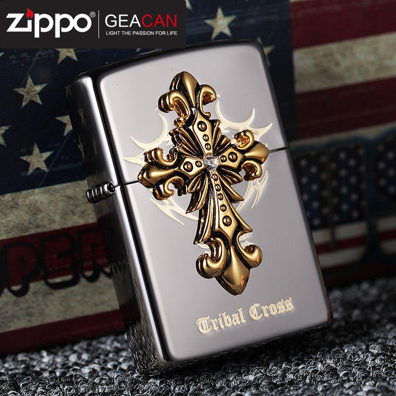 美国原装打火机zippo正版芝宝 韩版贴章黑冰圣天使部落十字架