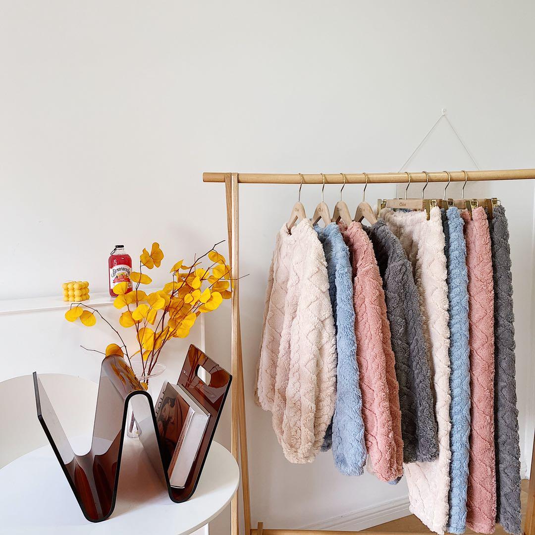 珊瑚绒暖暖套装女2021新款提花情侣套装宽松居家男女同款休闲套装