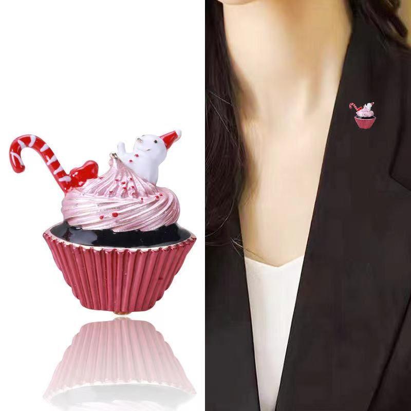 厂家直销外贸新款热销圣诞冰淇淋胸针时尚气质衣服配饰