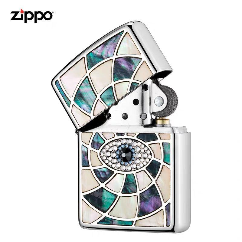 美国原装正版ZIPPO打火机 贝壳镶嵌施华洛世奇水晶项链眼中人