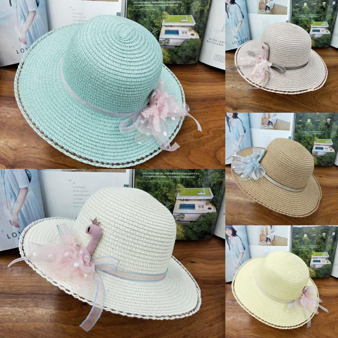 女童小天鹅遮阳帽防晒夏季时尚儿童太阳帽
