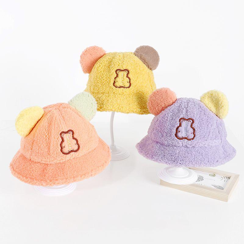 儿童秋冬羊羔绒渔夫帽男女童加厚保暖防风盆帽韩版可爱拼色卡通帽