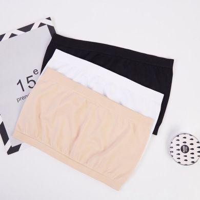 一字围时尚双罗口内衣 柔软舒适女式裹胸 简约单色针织无胸垫抹胸