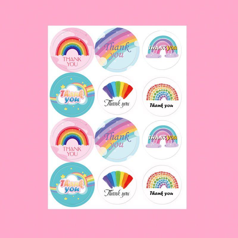 彩虹感谢贴纸