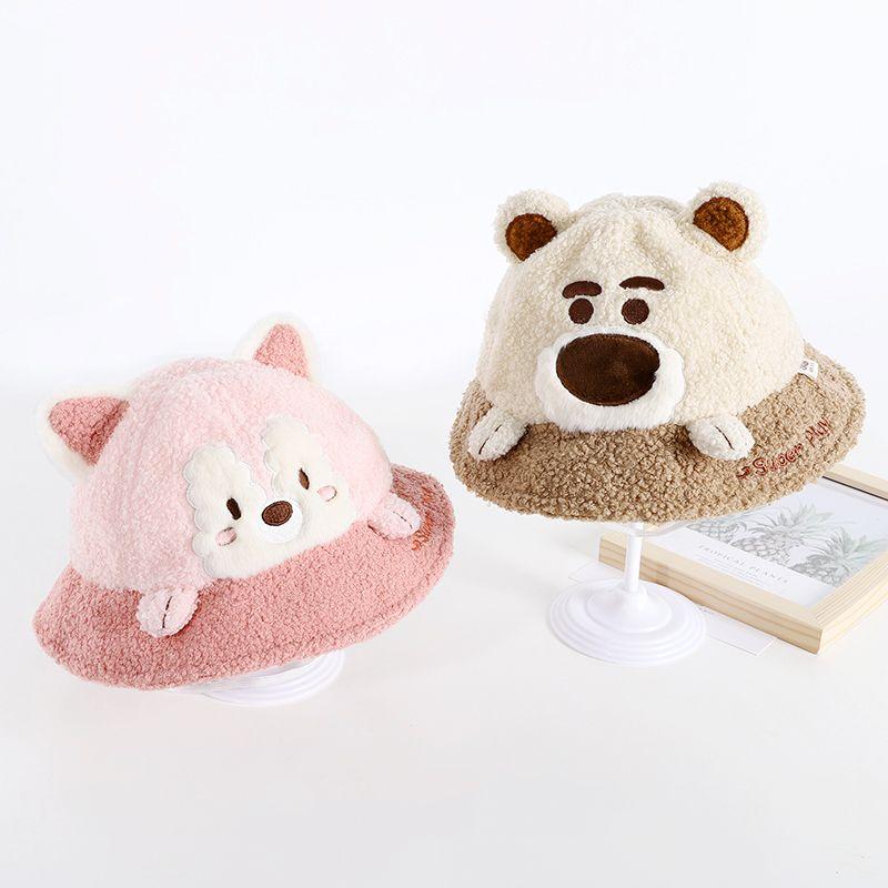 儿童羊羔毛渔夫帽宝宝秋冬加厚保暖盆帽男女童卡通刺绣可爱造型帽
