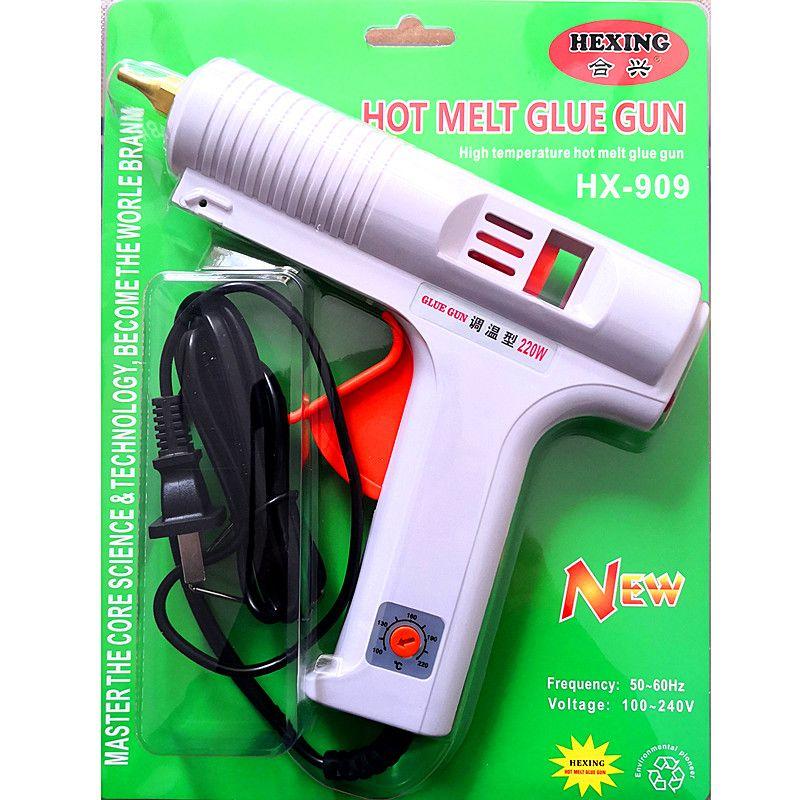 合兴HX-909调温型热熔胶枪220W大胶枪11毫米胶棒胶条通用热熔枪广东品牌白色现货