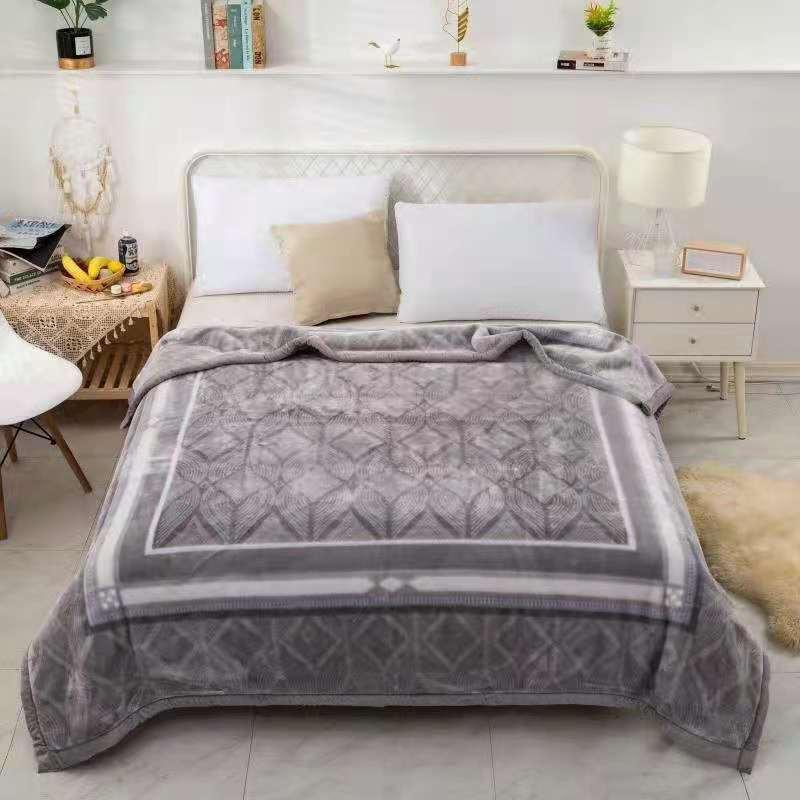 跨境新款加厚加绒保暖柔软双层安哥拉拉舍尔毛毯婚庆毯团购礼品毯