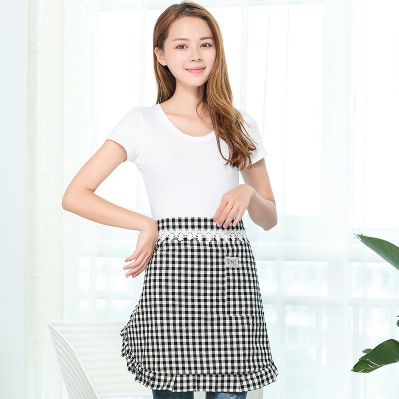 半身围裙韩版 迷你格 家用厨房围裙防水防油工作服