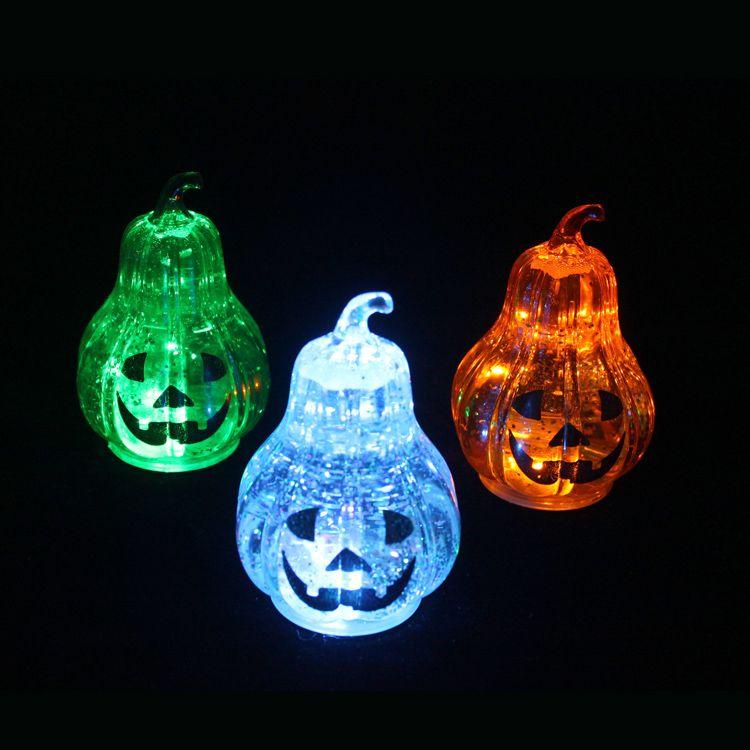 新款LED发光水晶梨子款南瓜小夜灯 万圣节发光摆件 万圣节用品
