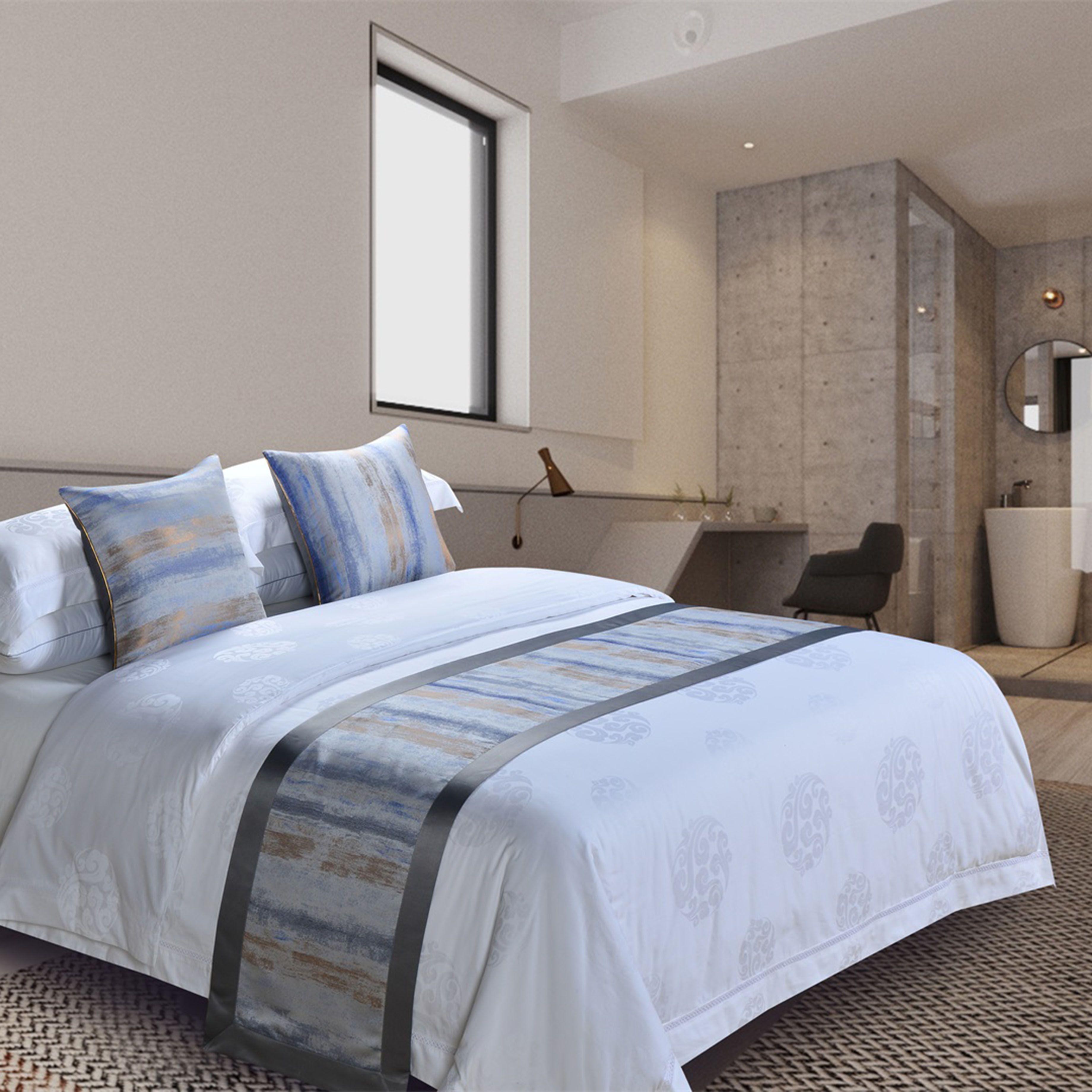 酒店 宾馆 民宿 床尾巾 酒店布草 床上用品 定制 抱枕 床旗床盖床尾巾批发