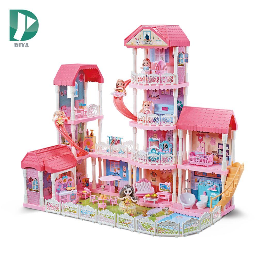 四层滑梯DIY公主城堡别墅多种家具娃娃屋