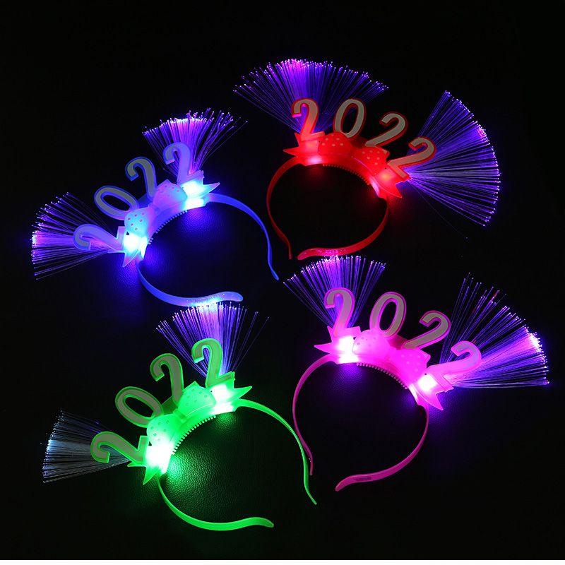 LED发光2022数字光纤头箍  闪光2022新年光纤头箍 跨年晚会用品