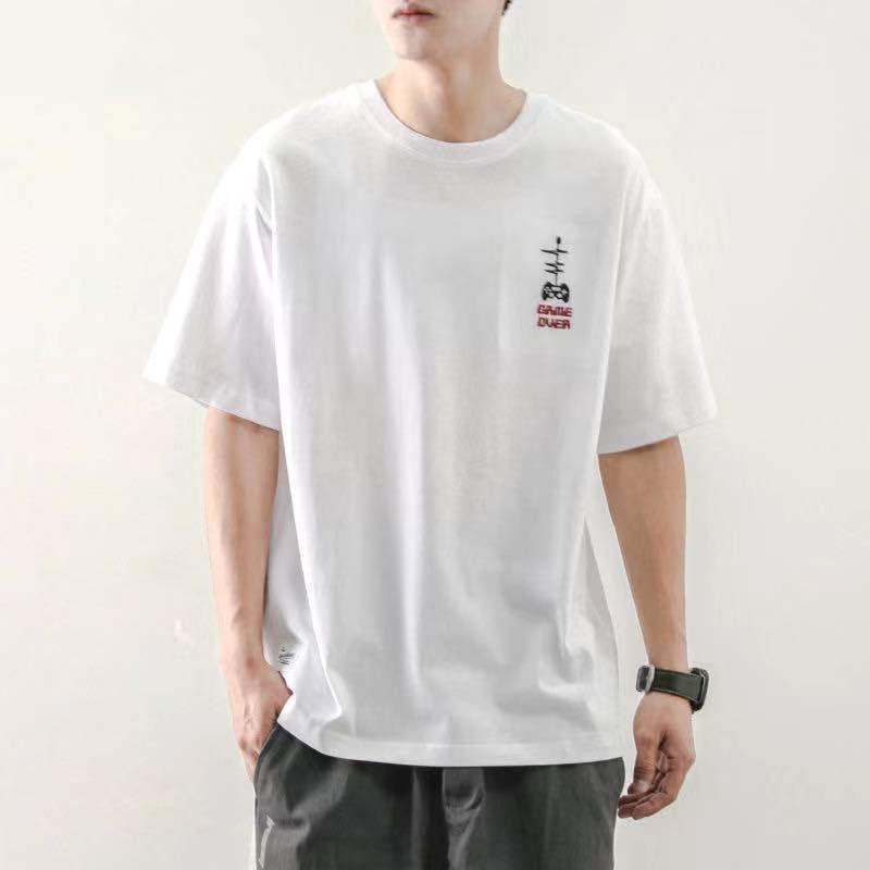 2021夏季纯色白潮流体恤打底衫衣服 纯棉短袖帅气男士夏季t恤韩版潮流潮牌短袖133