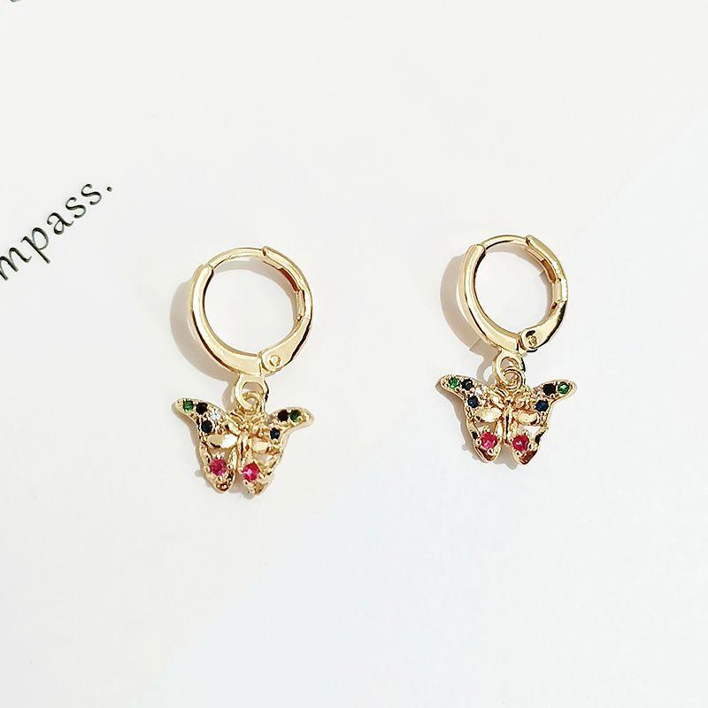 欧美气质彩色镶钻小蝴蝶 铜耳环耳扣女时尚金色蝴蝶耳环耳饰批发