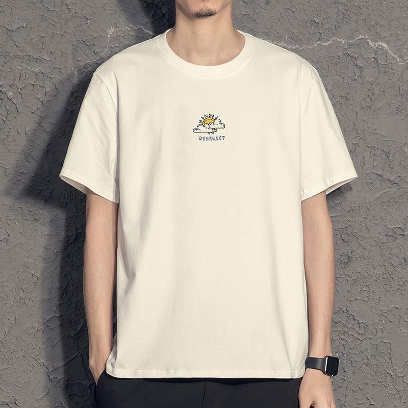 2021夏季纯色白潮流体恤打底衫衣服 纯棉短袖帅气男士夏季t恤韩版潮潮牌短袖418