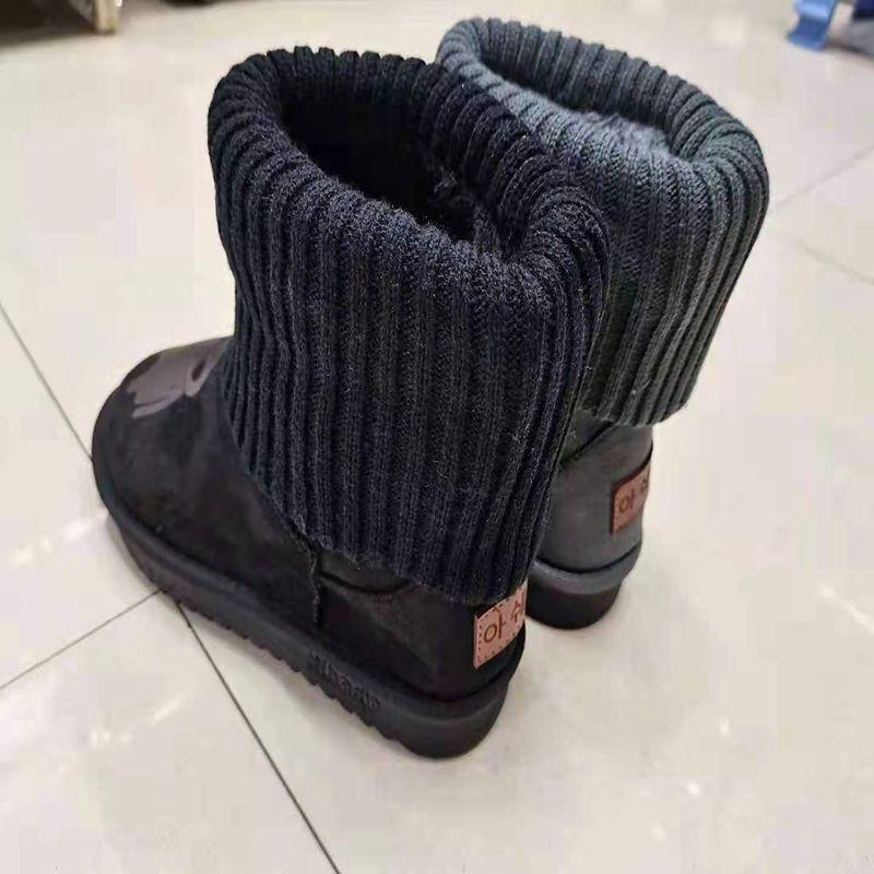 43238休斯鞋业 外贸批发 冬季保暖时尚百搭雪地靴简约一脚蹬短靴女靴雪地靴XS04