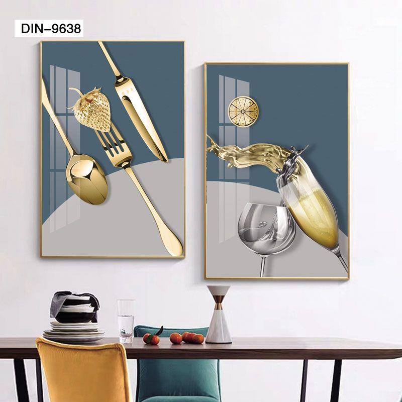 现代餐厅画两联装饰画方形山水画客厅背景墙字画过道办公室挂画
