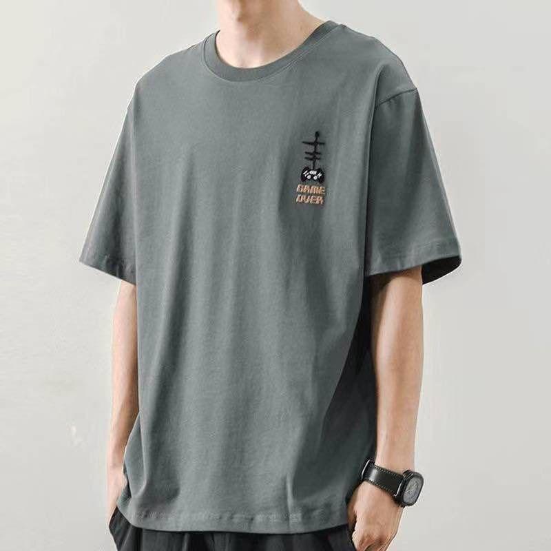 莫代尔冰丝短袖T恤男2021夏季纯色白潮流体恤打底衫衣服半袖68