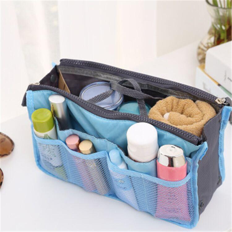 双拉链包中包多功能时尚化妆包大容量手提包学生书本物件收纳包