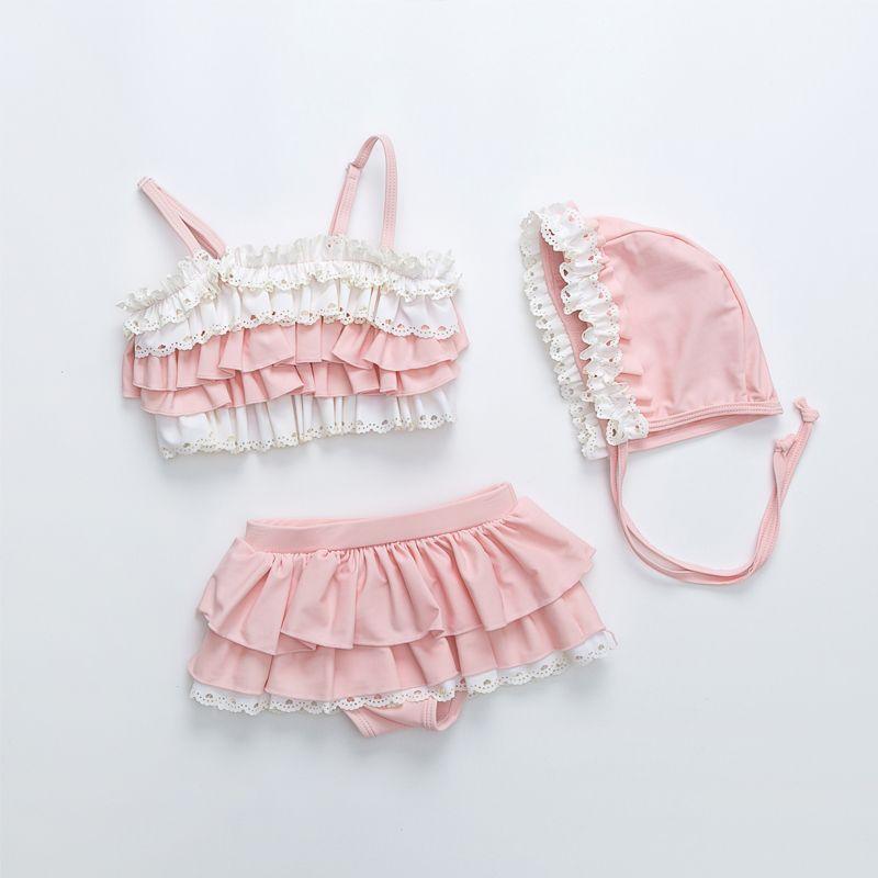 粉色分体泳衣