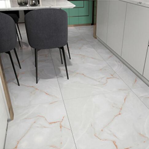 60*60cm自粘地板白色大理石纹带红条纹卧室厨房厕所客厅办公室商场室内装修地板翻新出租屋地板旧房改造水泥灰复古
