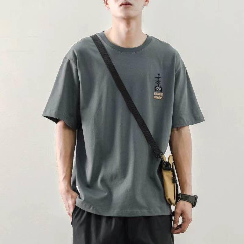 潮流冰丝短袖T恤男2021夏季纯色白潮流体恤打底衫衣服半袖17
