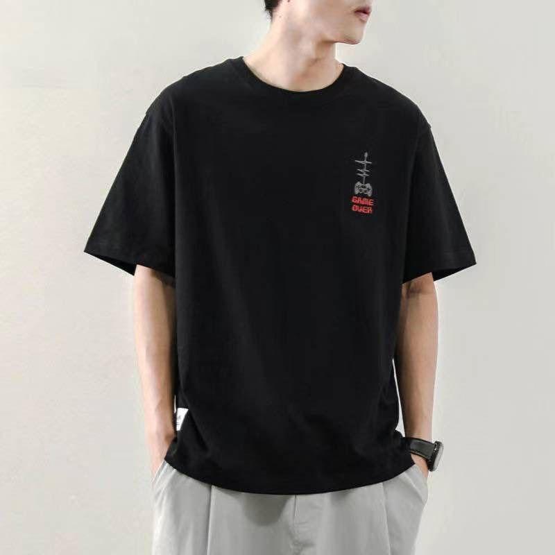 潮流冰丝短袖T恤男2021夏季纯色白潮流体恤打底衫衣服半袖24