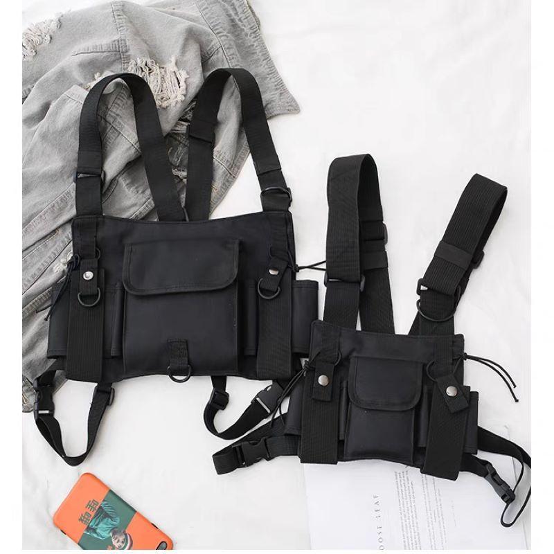 男女嘻哈战术包背心胸包街头工装马甲包双肩机能hiphop包