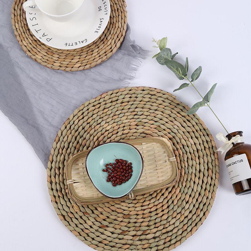 日式手工蒲草编织耐隔热垫圆形防烫锅杯碗垫家用餐垫双面美食拍照