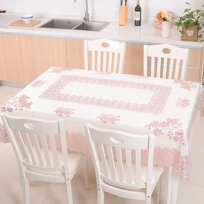日常实用圆桌布PVC防水防尘餐厅饭店家用圆形台布定制现货批