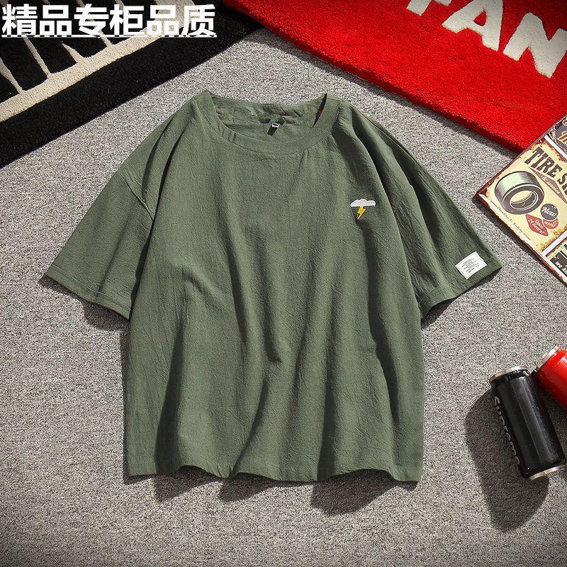 纯棉短袖t恤男士夏季潮流圆领半袖新款韩版宽松百搭体恤男装上衣 121