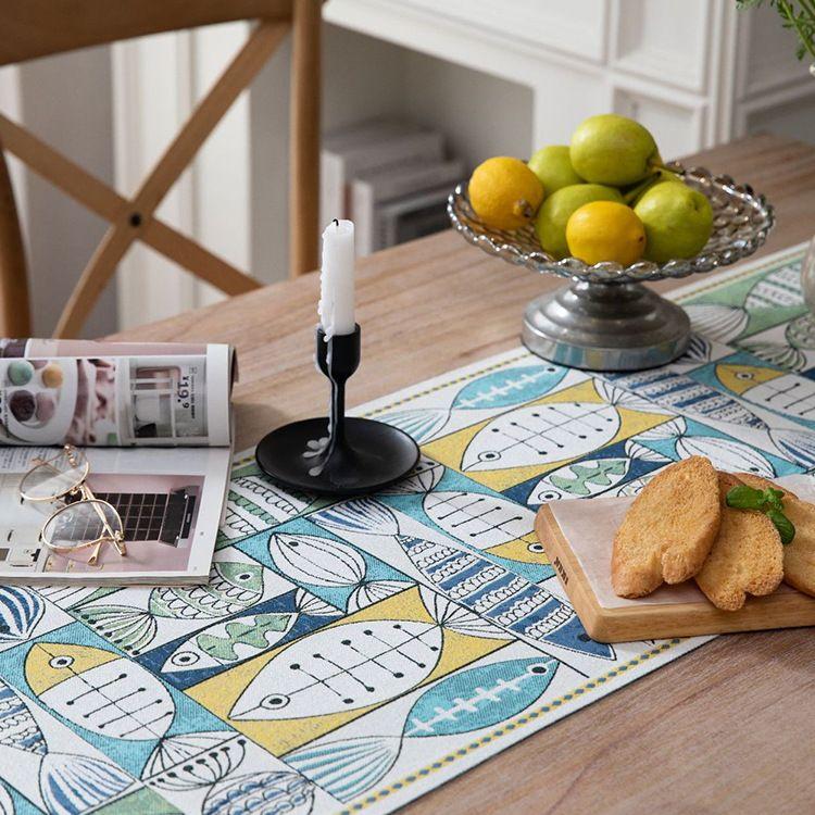 亚马逊桌旗年年有鱼装饰布艺雪尼尔流苏长条桌布茶席布棉麻桌旗
