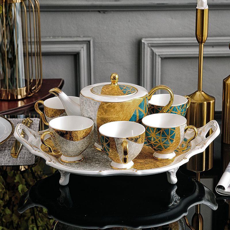 陶瓷咖啡具骨瓷杯子套装水具茶具欧式宫廷风茶具咖啡杯碟描金茶具
