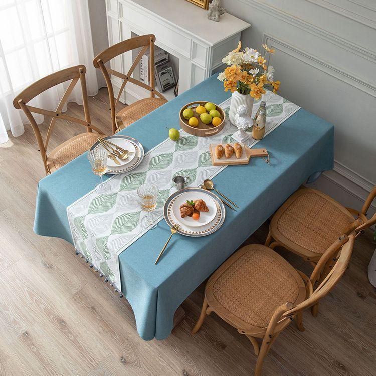 田园素色棉麻布艺书桌布艺叶子文艺长方形家用茶几台布盖布桌旗