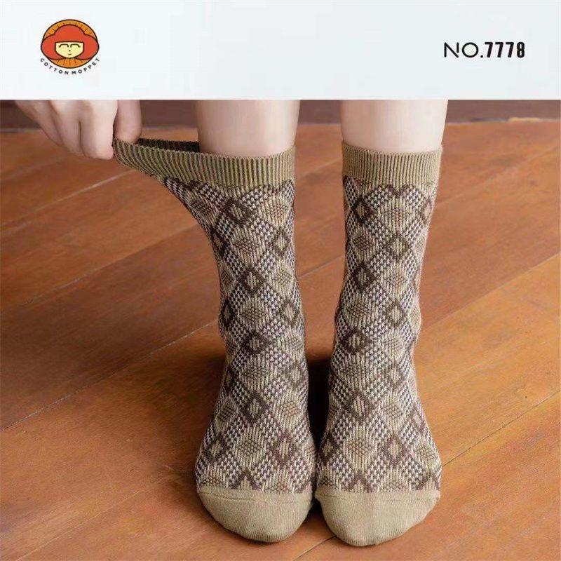 袜子女ins潮百搭小腿袜秋冬泫雅风甜美小花长款堆堆袜女棉袜